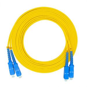 50m 164ft LC//SC 9//125 Duplex Single Mode Optic Fiber Optics Patch Cable Yellow