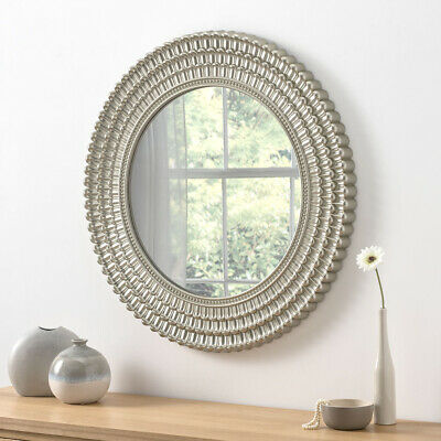 Seville Antique Style Champagne Round Large Wall Mirror Ornate Frame 75cm Diam 7625934037101 Ebay