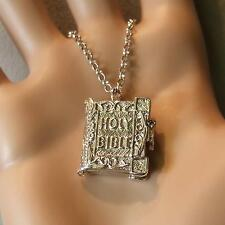 SILVER second hand opening bible pendant & chain