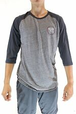 New BRIXTON Men's Wheeler 3/4 Sleeve Tee T Shirt Raglan Gray Medium M CM1