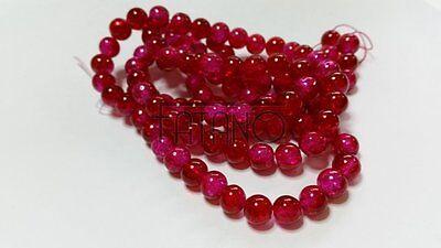 Glasperlen Crackle orange 8 mm 100 Stück Schmuck Basteln Perlen R293