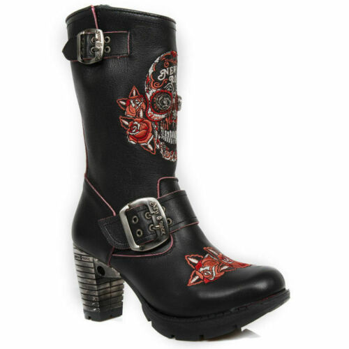 NEWROCK New Rock TR047-S3 Ladies Red Sugar Skull Embroidery Leather Trail Boots