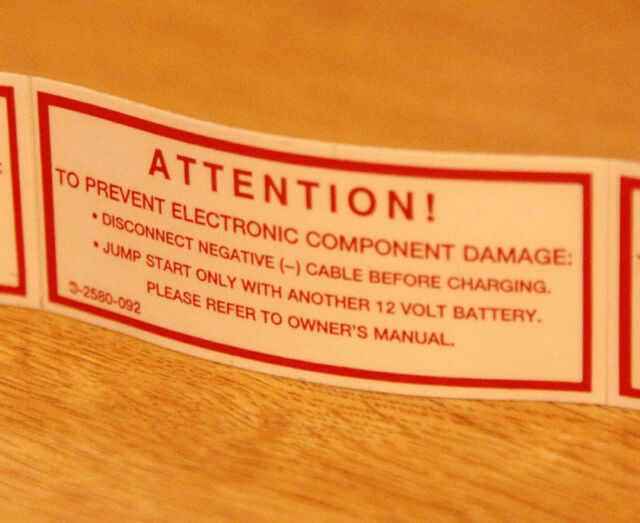 Mercedes battery charging jump start warning label decal W124 W201 W202 R129 140