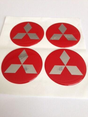 MITSUBISHI 4 x 60mm Silikon Emblem Felgen Aufkleber Logo Nabendeckel Nabenkappen