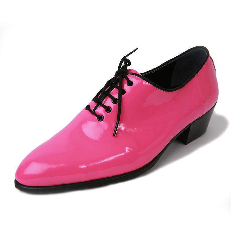 Men's glossy pink plain toe lace up dress shoes hand made KOREA US6-US10.5