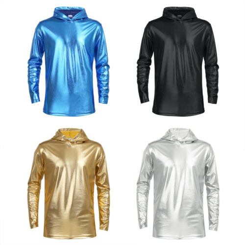 Men/'s Metallic Shiny Hoodies Top Clubwear Long Sleeve Pullover Hoody Top T Shirt