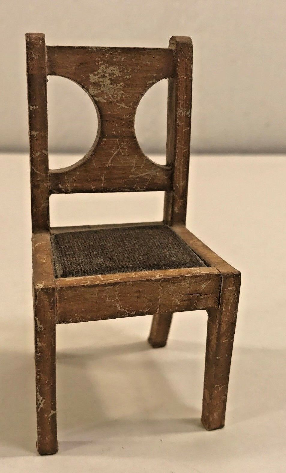Doll House Dollhouse Collectible Vtg Old Chair Rustic Wood Stained Seat