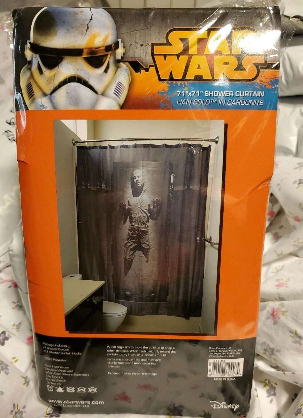 New Star Wars Han Solo In Carbonite Shower Curtain W Hooks Bathroom Decor