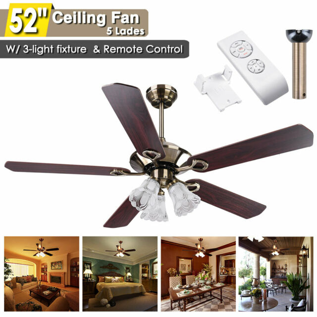 "52"" Ceiling Fan Light Kit Remote Control Reversible Restaurant Cafe Chandelier"