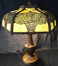 Handel Era Art Nouveau Flower Floral Bouquet bent slag Glass Lamp DIFFERENT !