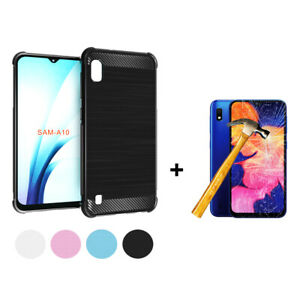 Cover-Case-TPU-Silicone-Fiber-Carbon-Samsung-Galaxy-A10-P-Glass-Tempered
