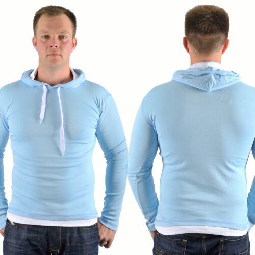 Herren Kapuzenpulli Langarm Pullover Baumwolle Hoddie hell blau 70018 Neu