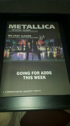 Metallica No Leaf Clover Rare Original Radio Promo Poster Ad Framed!