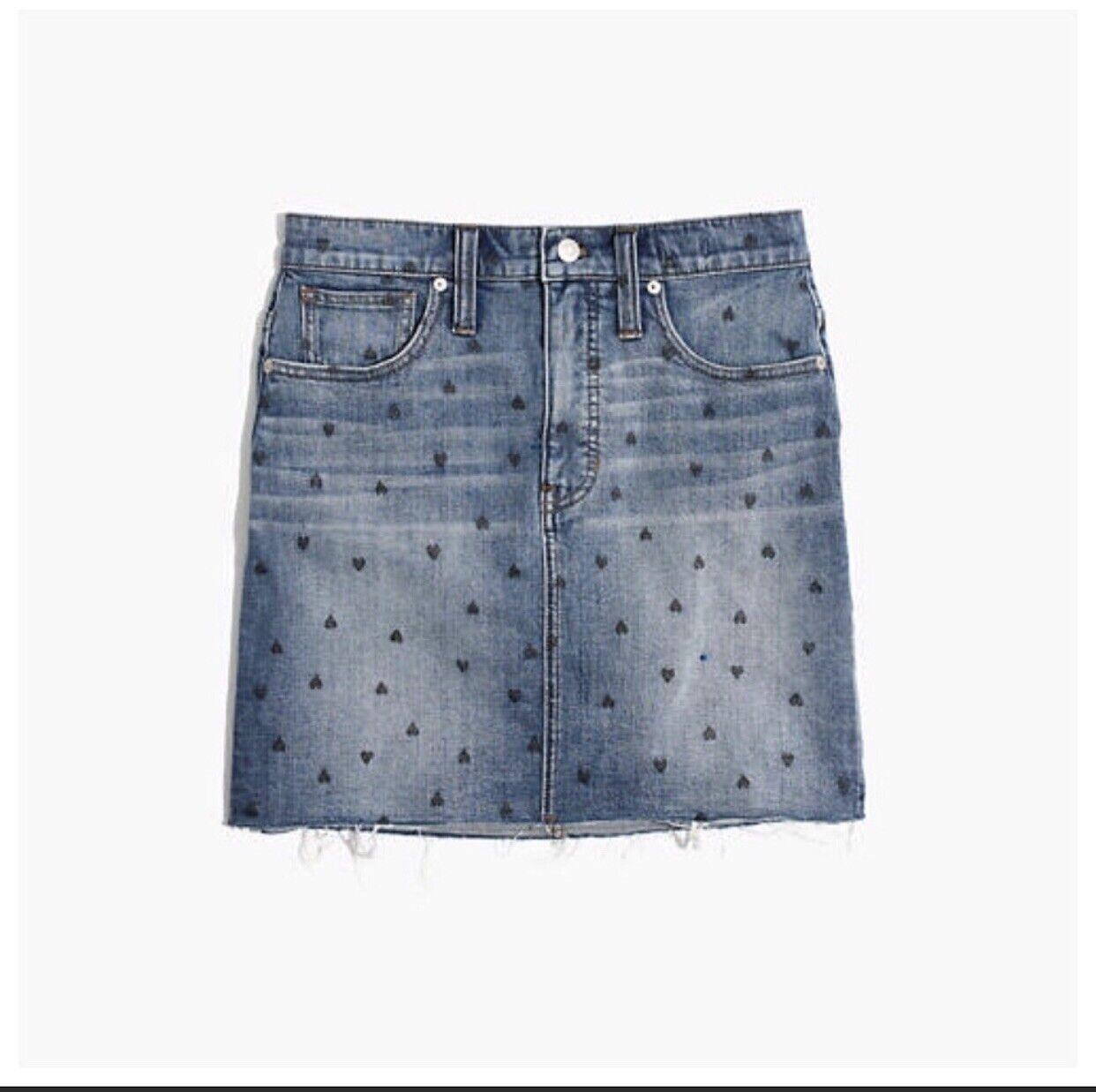 NWT Madewell Stretch Denim Straight Mini Skirt Heart Print Edition Sz 29