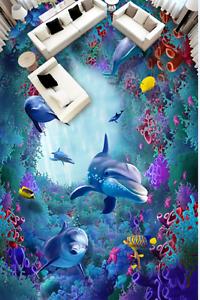 3D bluee Dolphin 4209 Floor WallPaper Murals Wallpaper Mural Print AJ AU Lemon