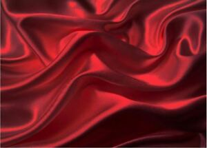 California King Bed Sheet Set Royal Opulence Red Satin Silk Soft Bedding 4Pcs