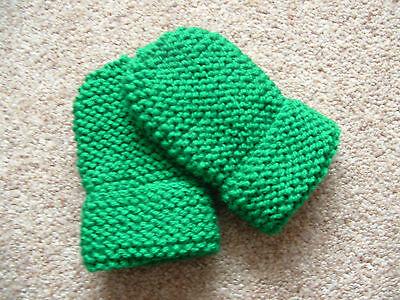 Importato Dall'Estero Children's Hand Knitted Muffole, Verde Smeraldo, Lana Acrilica, 2-4 Anni Nuovo-mostra Il Titolo Originale