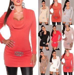 Koucla Minikleid Pulli Longpullover Pullover Sweater mit Strass und Zip