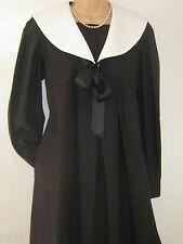 LAURA ASHLEY VINTAGE BLACK COTTON EDWARDIAN STYLE SAILOR SMOCK DRESS, 10  BNWT