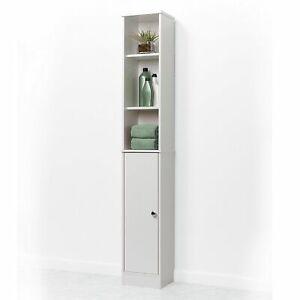 meet 091f3 2f591 Details about Narrow Linen Tower 5 Shelf Cabinet Bathroom Adjustable Slim  Storage Door Stand