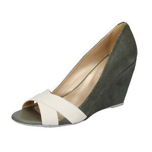 Women's shoes HOGAN 7.5 (EU 37,5) pumps green suede beige textile ...