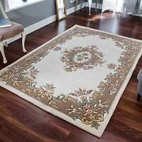 Indian Aubusson Cream Beige Wool Pile Traditional Rugs 200x285cm Chinese Large