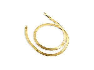Halskette-14K-Gelbgold-flache-Breitband-Kette-mit-Karabiner