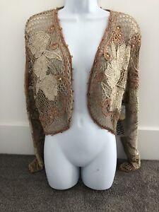 Sandy-Starkman-Embroidered-Crocheted-Beaded-Bolero-Jacket-M-NWT-SS-BL-253