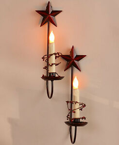 COUNTRY STAR WALL SCONCE SET OF 2 LED TAPER CANDLES BATTERY OPERATED METAL eBay