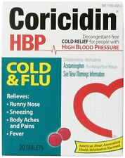 3 Pack - Coricidin HBP Cold - Flu Tablets, 20 Each