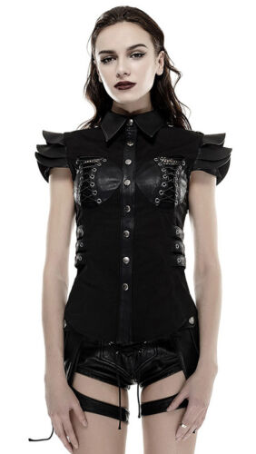 Hemd Top Punkrave Punk Bluse Militär Oberteil Gothic Schnürung Lolita Rüstung qEwwPpx
