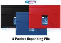 A4 Expanding File 6 Pockets Black/Blue/Red Documents Paper Organiser Wallet Fold