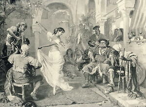 c1894 print SPANISH Guitar Musician Player Woman Dancing Fandango Dancer Dance