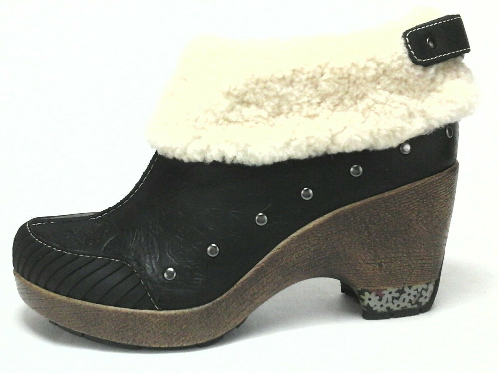 Jambu Holland Withhold Womens Leather Ankle Boots Black with Sherpa US 6.5