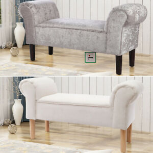 Silver Grey Velvet Bed End Stool Window Bench Sofa Seat Ottoman Footrest Chair
