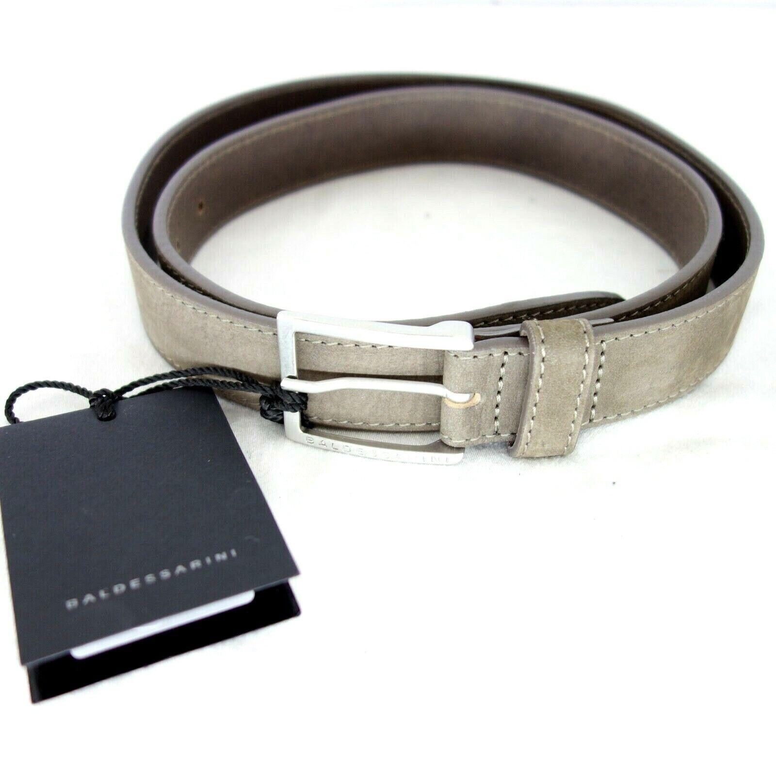 Baledessarini Mens Belt Leather Belt Size 100 Brown Leather Suede Business