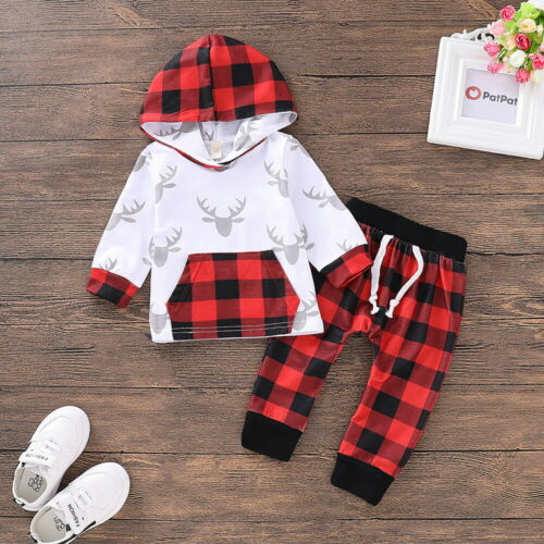 Kids Baby 2PCS Christmas Outfits Hoodie Top Pant Set Boys Girls Party Costume