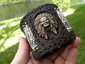 Indian-chief-cuff-Bracelet-High-Quality-Buffalo-Bison-leather-biker-wristband