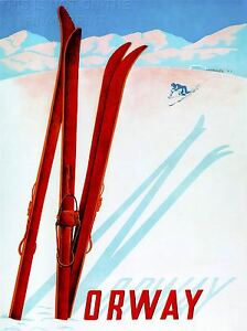 ART-PRINT-POSTER-TRAVEL-TOURISM-WINTER-SPORT-SKI-SNOW-NORWAY-SKIER-NOFL1279