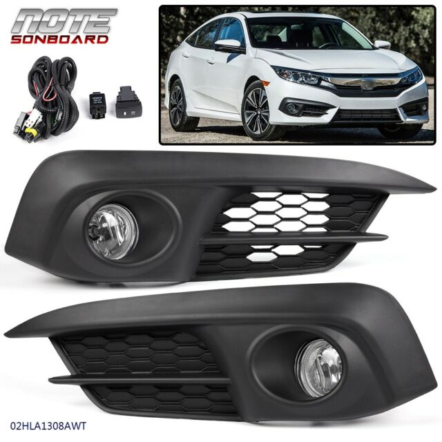 Pair Front Fog Light Clear Lamps Switch+Bulbs For Honda Civic 2/4Dr 2016 2017