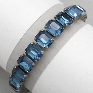 Vtg-Art-Deco-Silver-Tone-Sapphire-Paste-Glass-Line-Bracelet
