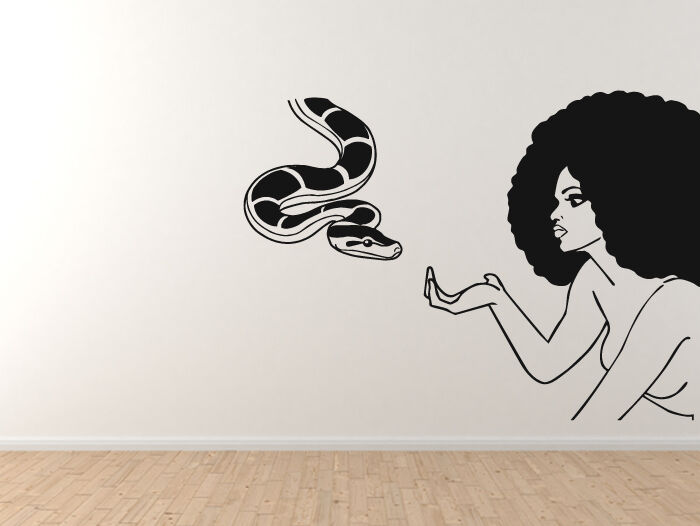 Afro Hairstyle - Eve Fall From Grace Snake Temptation - Vinyl Wall Decal