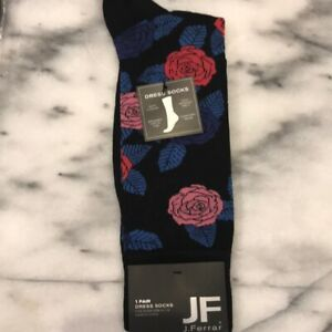 JF-J-FERRAR-Men-039-s-Dress-Socks-POP-ART-Roses-Black-Size-10-13-NWT