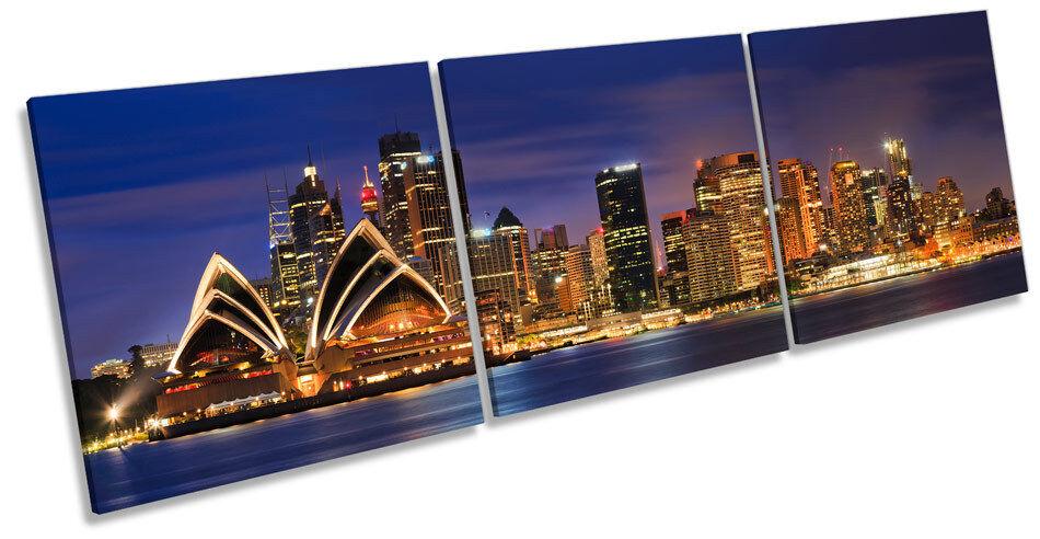Sydney Opra House Stadt Skyline CANVAS Wand Kunst TRIPLE Box Frame Drucken
