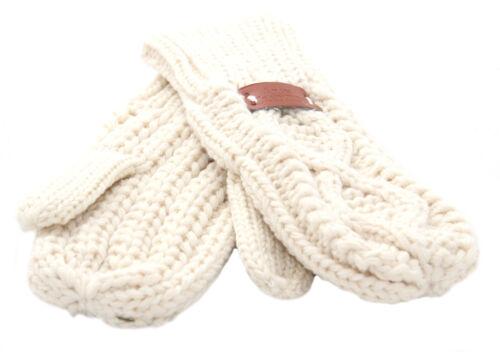 Aran Traditions Womens Ladies Winter Warm Diamond Cream Mittens Mitts Gloves