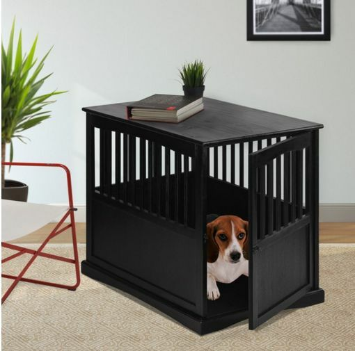 Wooden Dog Kennel Pet Crate Small   Medium Cage Puppy Bed End Table Furniture