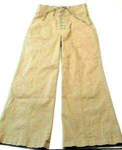 ALC-Womens-Pants-Size-4-Boho-Hippy-Lace-Tie-Up-High-Waist-Flare-Leg-Bohemian