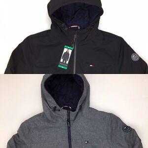 Tommy-Hilfiger-Men-039-s-Softshell-Bomber-Jacket-Hooded-Black-Gray-Med-Large-XXL