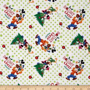 Disney-Mickey-Friends-Trim-the-Tree-100-cotton-Fabric-by-the-yard