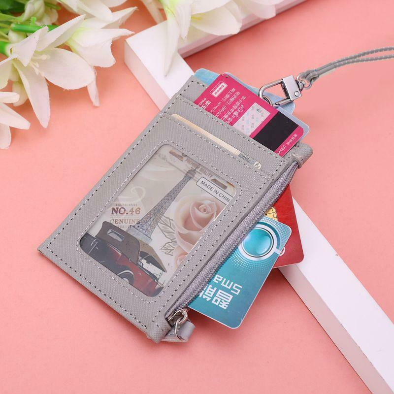 Women Business Card Holder Wallet Men PU Leather ID Case Neck Strap Lanyard Slim